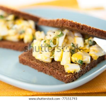 Mini Egg Salad Sandwiches with Whole Grain Bread - stock photo