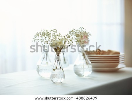 Mini Glass Vases Flowers On Table Stock Photo Royalty Free