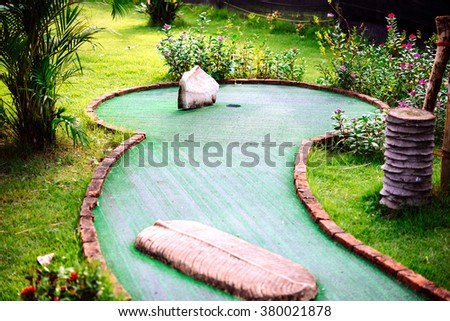 Mini golf club decorated in thai style - stock photo