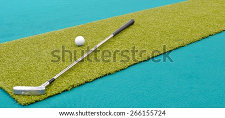 mini golf inside interior - stock photo