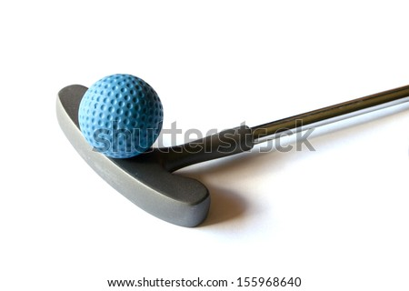 Mini Golf Stick with blue colored ball on an isolated background - stock photo