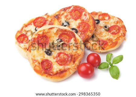 Mini margherita pizzas with tomato, cheese and basil, isolated on white background