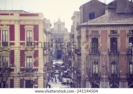 Mini market on the morning street of Catania. Sicily. - stock photo