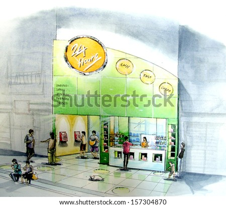 mini mart convenient store open all night a neighbor shop - stock photo