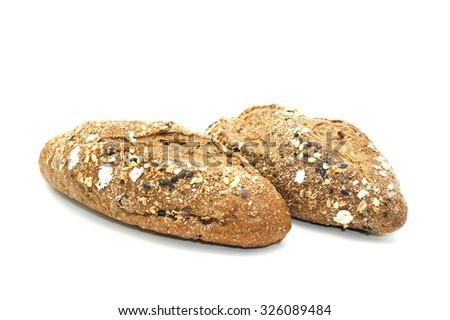 Mini multi malt baguette Isolated on white background - stock photo