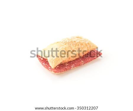 mini pie biscuit with strawberry jam on white background