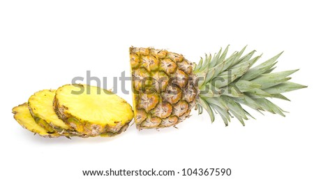 Mini pineapple, isolated on the white background.
