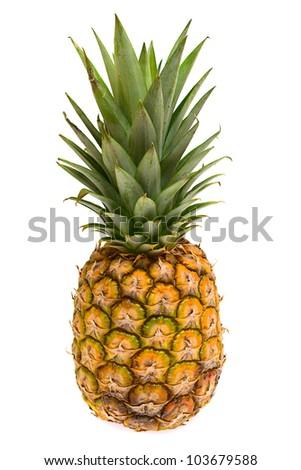 Mini pineapples on the white background. - stock photo