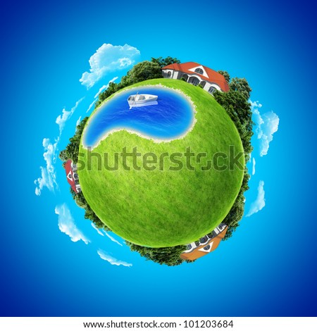 Mini planet concept. Boat in center of the pond between three villages. Countryside concept. Earth collection. - stock photo