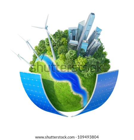 Mini planet concept. City, ocean, park, wind turbines, two solar batteries, river bank and fresh green field. Earth collection. Isolated. - stock photo
