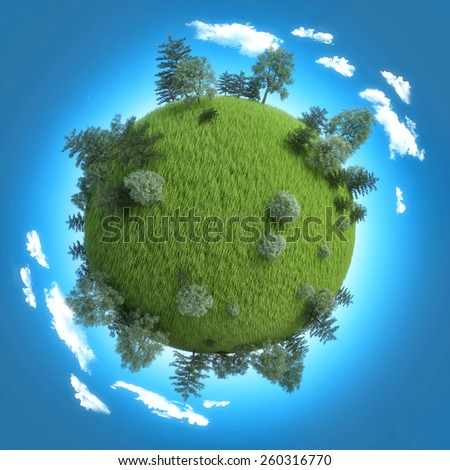 Mini planet concept. Empty space on fresh green field and trees - stock photo
