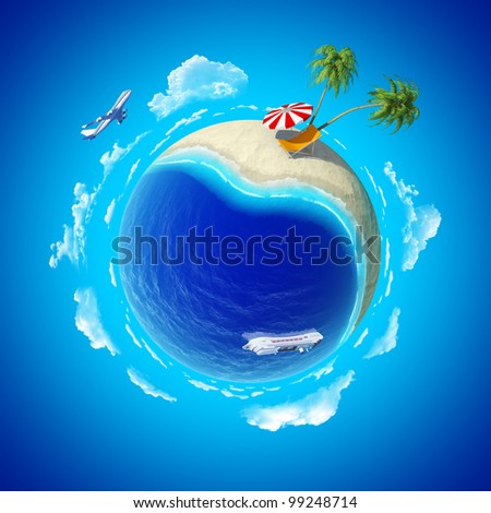 Mini planet concept. Hot tropical sand beach with palms, chaise longue and sun umbrella, ocean with cruise liner and aircraft in the sky. Travel / tourism concept. Earth collection. - stock photo