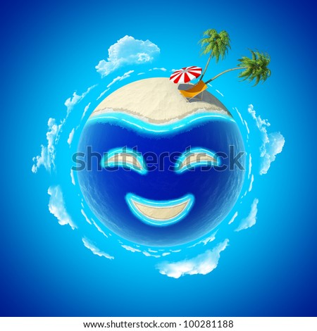 Mini planet concept. Smile island. Hot tropical sand beach with palms, chair and sun umbrella. Travel / tourism concept. Earth collection. - stock photo