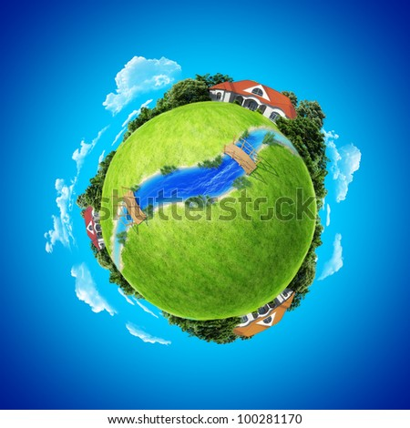 Mini planet concept. Three houses on the different poles with small river / rivulet and wooden bridges. Earth collection. - stock photo