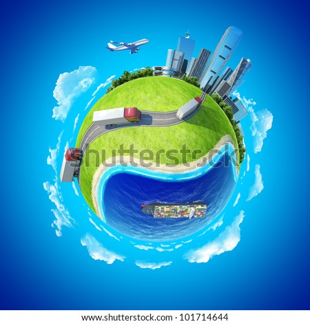 Mini planet concept. Trucks on the highway heading to the city on horizon, huge cargo ship in the ocean. Delivery, transportation expedition concept. Earth collection. - stock photo