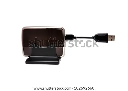mini  portable hdd  on white background - stock photo