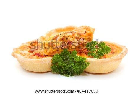 Mini Quiches isolated on white background - stock photo