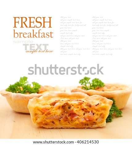 Mini Quiches isolated on white background with copy space - stock photo
