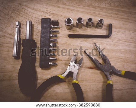 mini set of DIY tools vintage tone - stock photo