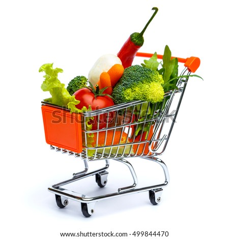 mini shopping cart full with vegetables