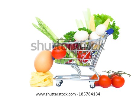 mini supermarket car isolated over a white background. healthy food shopping concept - stock photo
