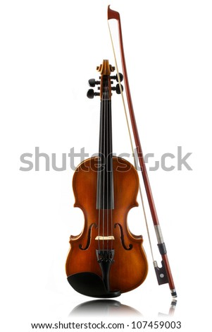 mini violin and bow isolated on  white background