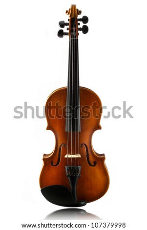 mini violin isolated on  white background - stock photo