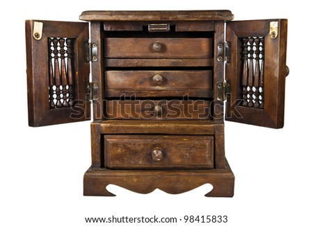 Mini Wooden Cupboard On White Background