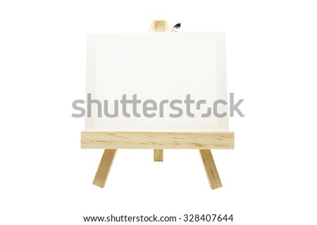 Mini wooden easel with blank canvas frame isolated on white background