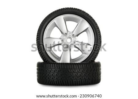 miniature alloy wheels isolated on white - stock photo