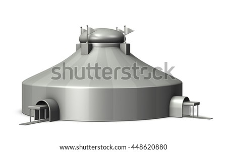 Miniature architectural models of Circus tent. 3D illustration - stock photo