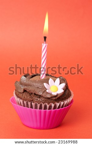 Miniature chocolate cupcake with icing, decorative flower and birthday candle on red background - stock photo