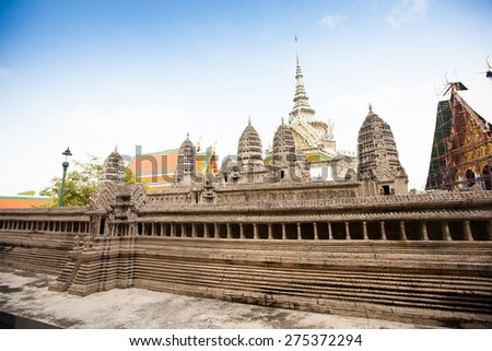 Miniature copy of Angkor Wat Temple in Grand Royal Palace, Bangkok, Thailand - stock photo