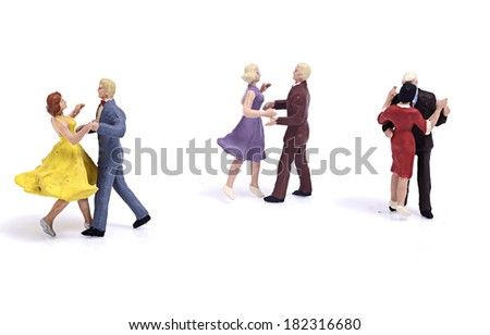Miniature couple romantic dance - stock photo