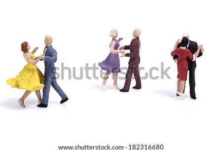 Miniature couple romantic dance - stock photo