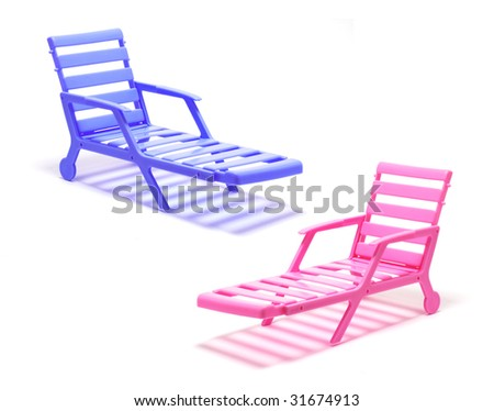 Miniature Deckchairs on White Background