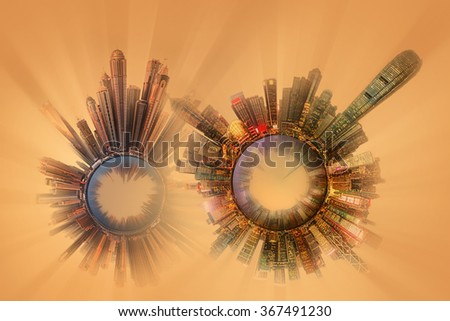Miniature Earth Planet with all important buildings and attractions of the city, Nature and city around, planet globe with environment elements around, house, cityscape and ocean