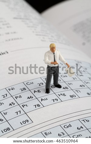 miniature figurine of a chemistry teacher on a periodic table of elements