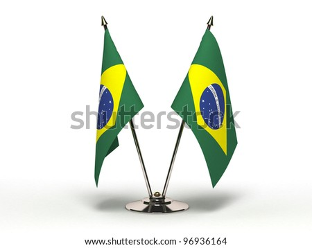 Miniature Flag of Brazil (Isolated with clipping path) - stock photo