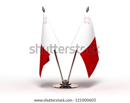 Miniature Flag of Malta (Isolated with clipping path)