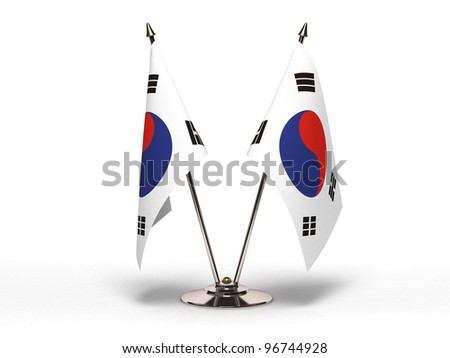 Miniature Flag of  South Korea - stock photo