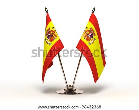 Miniature Flag of Spain (Isolated) - stock photo