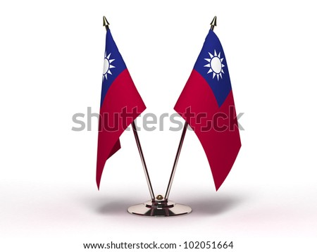 Miniature Flag of Taiwan (Isolated with clipping path) - stock photo