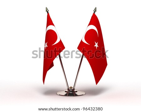 Miniature Flag of Turkey (Isolated) - stock photo