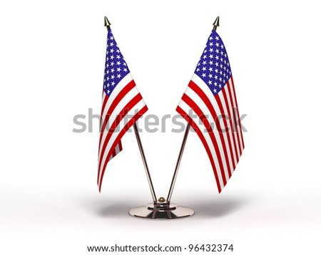 Miniature Flag of USA (Isolated) - stock photo