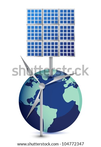 Miniature Globe with Windmill and Solar Panels on white background