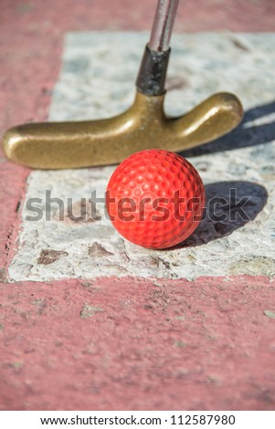 miniature golf on stone court - stock photo