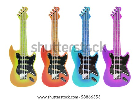 Miniature Guitars on White Background