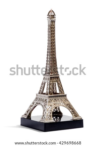 Miniature metallic silver model of the Eiffel Tower, Paris, France for sale as tourist souvenirs or mementos in a travel and tourism concept