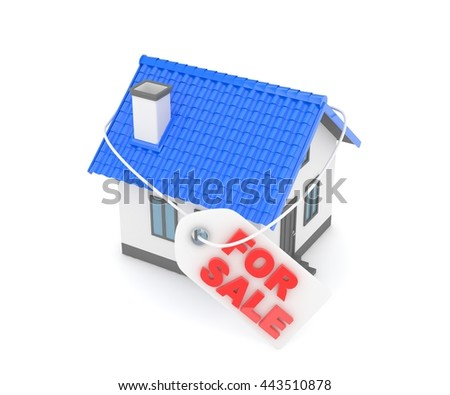 Miniature model of house real estate for sale label on white background. 3D rendering. - stock photo